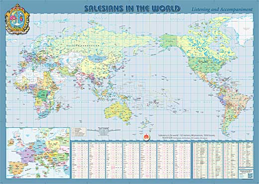 Resource - Salesians in the World, Map 2018_Pacific-centric
