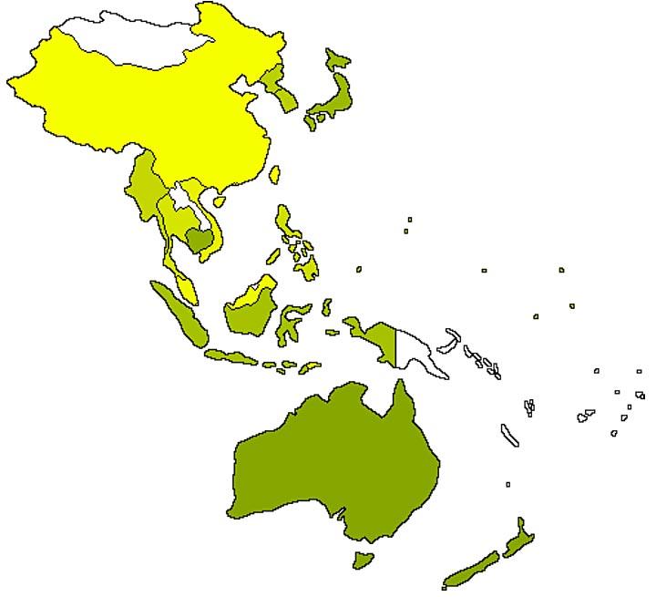 AustraLasia IEAOSDB East Asia Oceania Region And APSJ - East asia oceania map