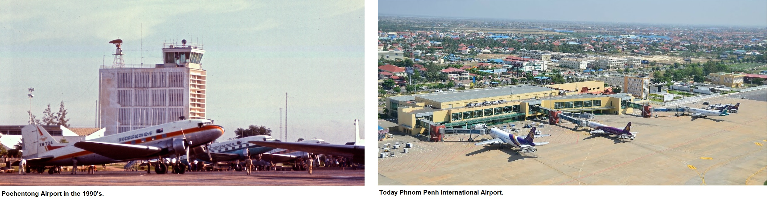 Phnom Penh International Airport in the 1990s and today.jpg